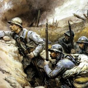 Soldats français dans une tranchée pendant la guerre 1914-1918.